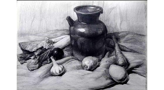 韩劲哲素描静物 水果陶罐