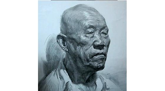 朱传奇素描头像:男老年头像写生